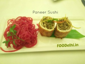 try the paneer sushi served at CB restaurant in Gurgaon