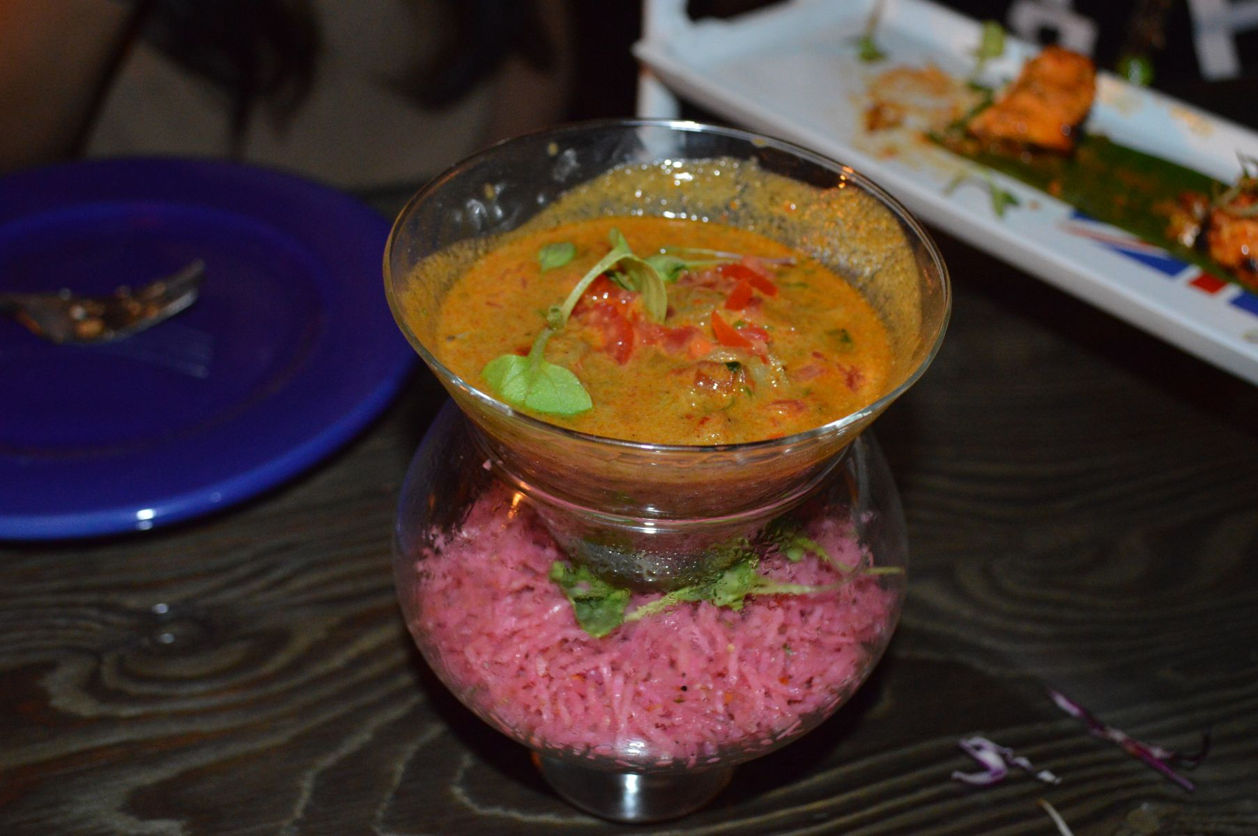 Malai Chingdi Served with Beet Rice